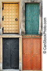 Set of 4 old doors and from Lvov, Ukraine. Examples of world...