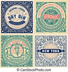 Set of 4 old labels
