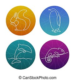 Set of 4 one line animals icons or logos. Squirrel, pinguin, dolphin, chameleon.