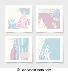 set of 4 posters with abstract trendy pattern background -...