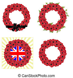 set of 4 remembrance wreaths - set of 4 vectors for...