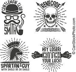 4 retro hipster logo