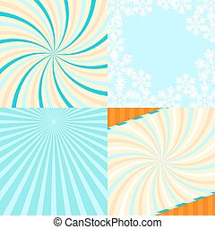 Set of 4 retro lines abstract background with snowflakes