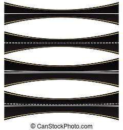 Set of 4 road, highway, roadway shapes. Dashed and straight lines isolating lanes. Empty roads.