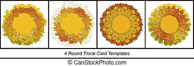 Set of 4 round card templates with colorful autumn leaves on white background. Bright fall collection for season design
