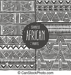 Set of 4 seamless ethnic patterns. Monochrome abstract seamless prints.