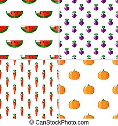 Set of 4 seamless pattern on white background with fruits and vegetables.