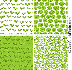 Set of 4 seamless patterns in swatches with fresh green doodle leaves