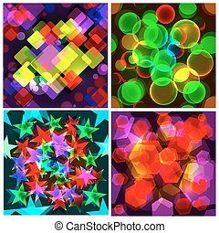 Set of 4 seamless patterns. The abstract colourful design.