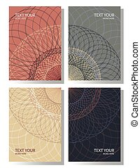 Set of 4 simple geometric mandala graphic covers design. Poster template in earth tone. Vector illustration.