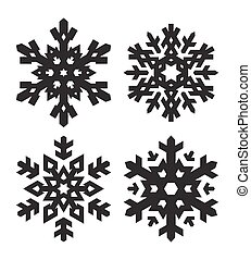 Set of 4 simple shape stylish black snowflakes for your design. Vector geometric pattern.