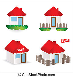 set of 4 special building illustrations