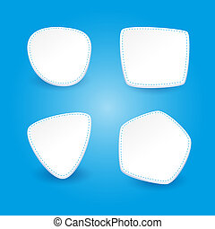 Set of 4 stickers on a blue background