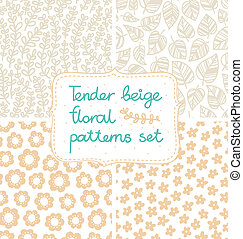 Set of 4 tender beige floral seamless patterns