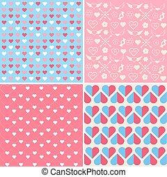 Set of 4 Valentine's Day Seamless Patterns
