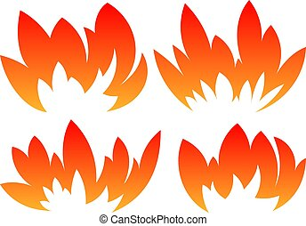 Set of 4 vector fires in cartoon style