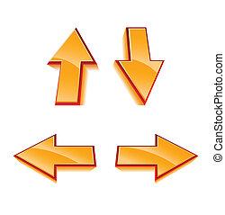 Set of 4 vector glossy arrows