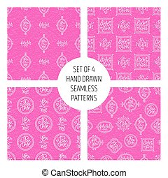 Set of 4 vector seamless patterns with handwritten love phrases