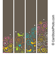 Set of 4 Vertical Banners or Bookmarks