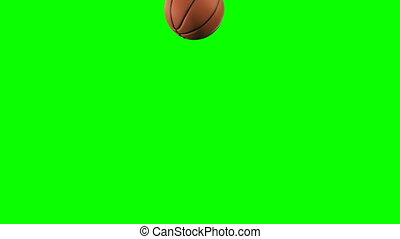 Set of 4 Videos. Beautiful Basketball Ball Throws in Slow Motion on Green Screen. Basketball 3d Animations of Flying Ball. 4k UHD