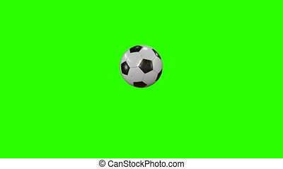 Set of 4 Videos. Beautiful Soccer Ball Hits the Camera in Slow Motion on Green Screen. Football 3d Animations of Flying Ball. 4k