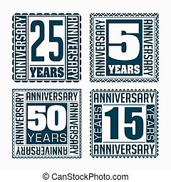 Set of 4 vintage anniversary square emblems. Retro styled vector backgrounds in dark tones.
