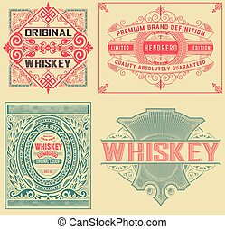 Set of 4 vintage labels