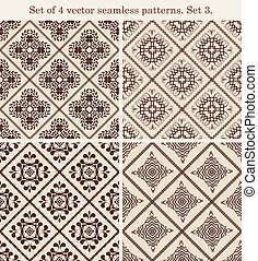 Set of 4 vintage seamless patterns.Set 3.
