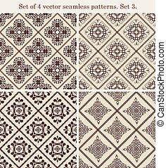 Set of 4 vintage seamless patterns.Set 3.