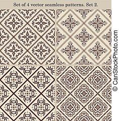 Set of 4 vintage seamless patterns.Set 2.