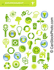 environment - set of 40 simple environmental icons and ...