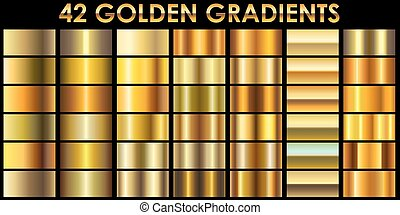 Set of 42 golden color illustrator gradients with black background.
