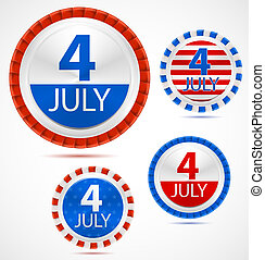 Set of 4th July labels, vector