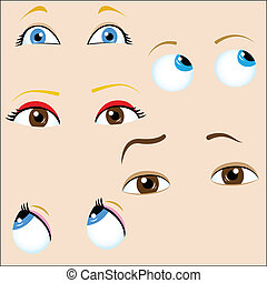 Set of 5 cartoon eyes. Editable Vector Illustration