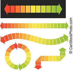 Set of 5 colorful arrow or graph elements