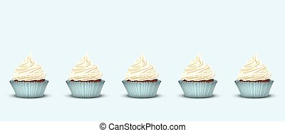Set of 5 cupcakes with delicious cream