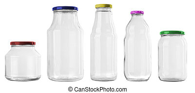set of 5 empty jar isolated on white background