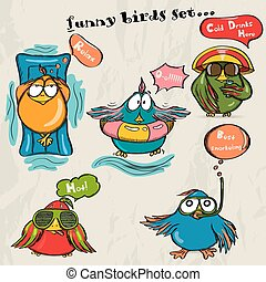 Set of 5 funny cartoon birds.
