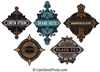 Set of 5 Logos or badges for packing