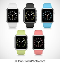 Set of 5 modern shiny sport smart watches with white, black, green, blue and pink plastic bands