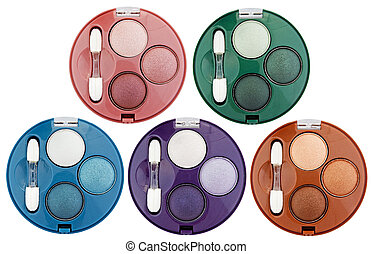 Set of 5 multicolored eye shadows isolated on white