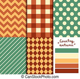 Set of 5 simple seamless geometric patterns. Country autumn color palette.
