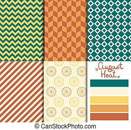 Set of 5 simple seamless geometric patterns. Rose garden color palette.