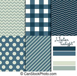 Set of 5 simple seamless geometric patterns. Winter twilight color palette.