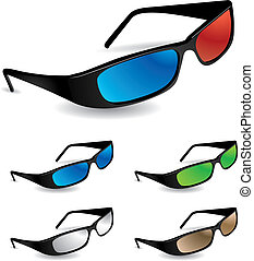 Set of 5 sunglasses including 3d vision