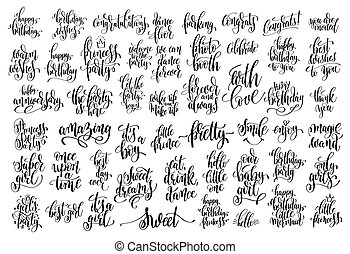 set of 50 hand written lettering about family