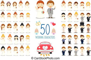 Set of 50 wedding characters and nuptial icons in cartoon style