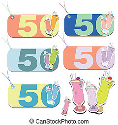 Set of 50 year celebration tags with cocktail drinks