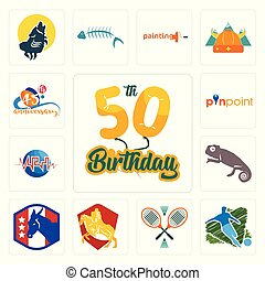 Set of 50th birthday, football, badminton, knight on horse, democratic party, chameleon, med, pinpoint, 45th anniversary icons