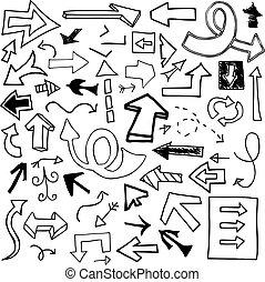 Set of 53 doodled arrows (Set Two).